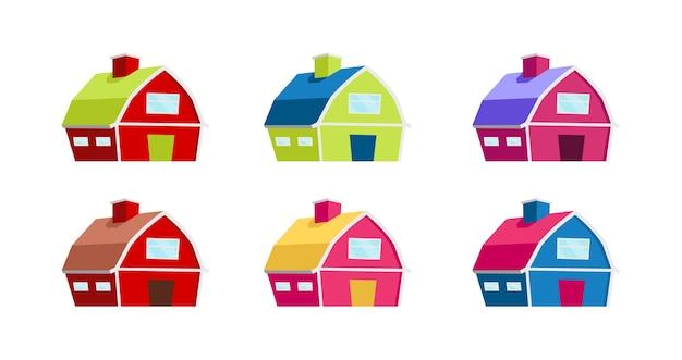 カラフルな家のフラットカラーオブジェクトセット。田舎の納屋。農家。タウンハウス。ウェブグラフィックデザインとアニメーションコレクションの村の建物の孤立した漫画イラスト