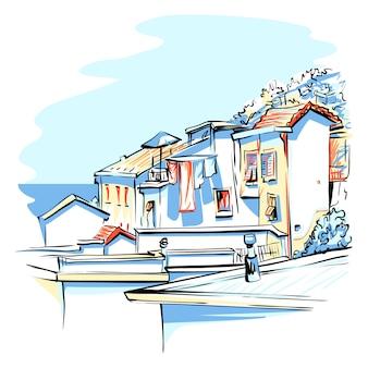 Красочные дома в манароле, лигурия, италия