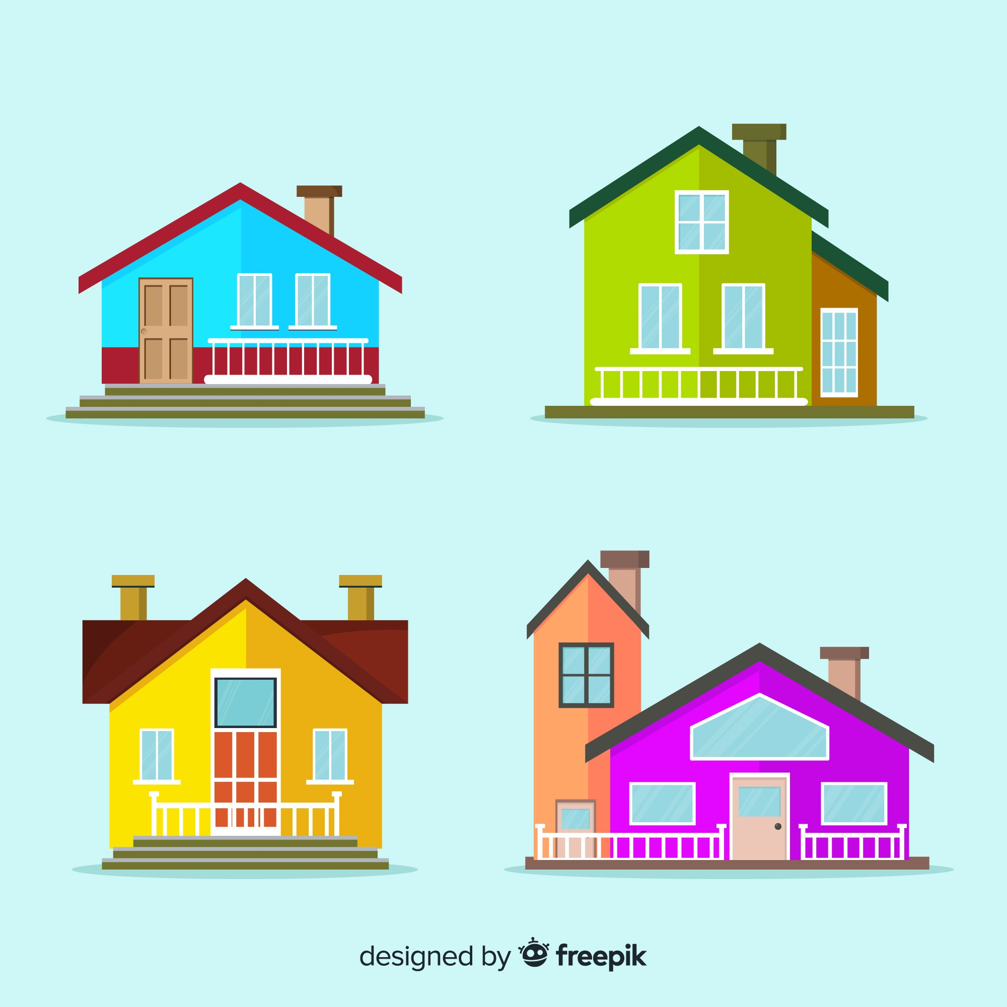 Colorful housing collection with cartoon style
