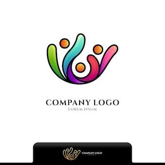 Colorful human community logo isolated on white
