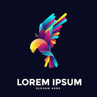 Colorful humming bird logo template in flat design