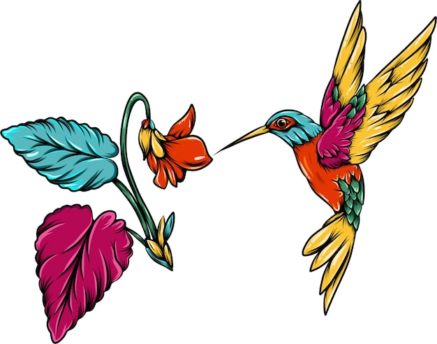 The colorful hummingbird with the flower