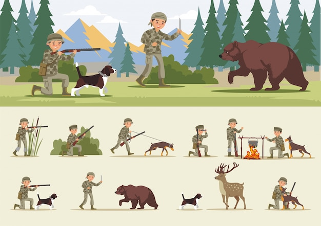 Colorful hunting concept
