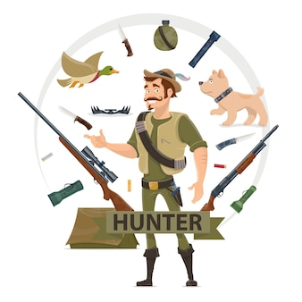 Colorful hunting elements concept