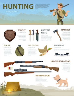Colorful hunting infographic concept