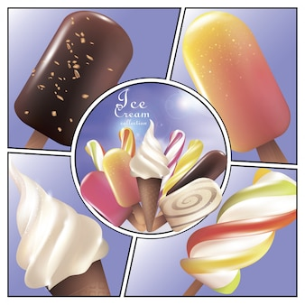 Colorful ice cream bright concept with popsicle lollipop creamy and fruit ice creams in realistic style