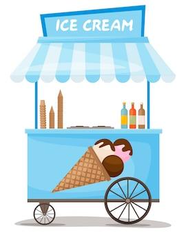 Colorful ice cream cart street kiosk