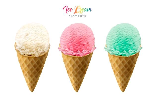Иллюстрация элементов красочных рожков мороженого