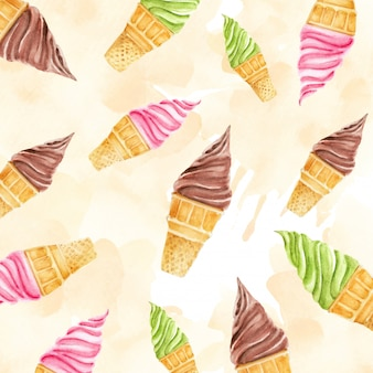 Colorful ice cream cones pattern with creamy background watercolor