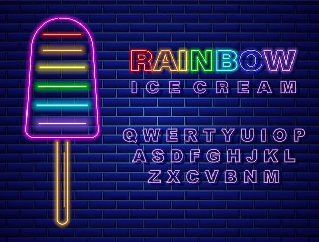 Colorful ice cream neon