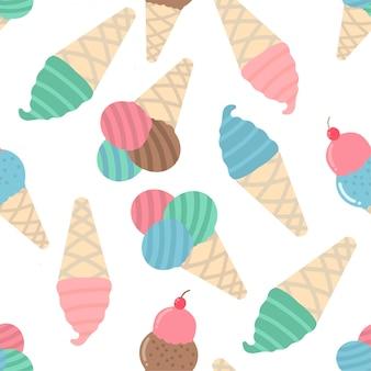 カラフルなアイスクリームのシームレスなパターン