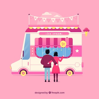 Colorful ice cream truck with flat design