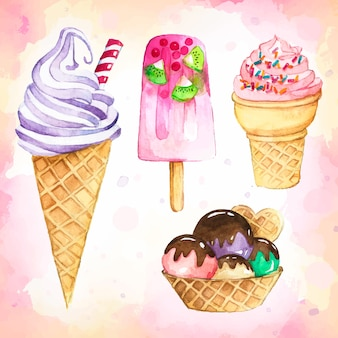 Colorful Ice Cream Watercolor Collection