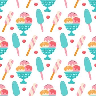 Красочное мороженое с ягодами на белом фоне бесшовный узор вектор
