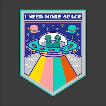 Красочный значок мультфильма нло с инопланетянами на доске и надписью «мне нужно больше места».