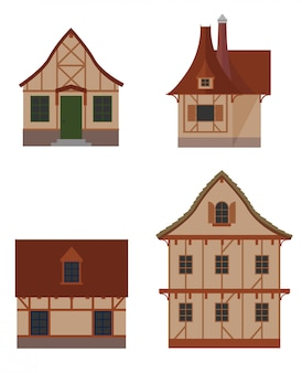 Colorful icon set of half-timbered house types