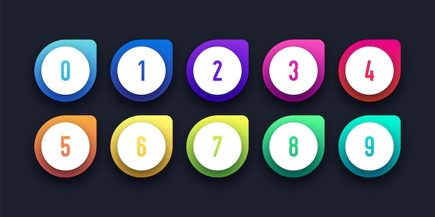 Colorful icon set with number bullet point
