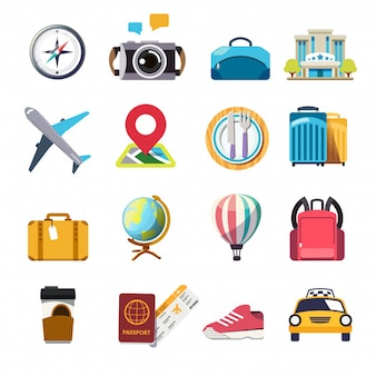 Colorful icon travel concept
