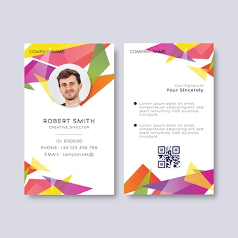 Colorful id card with photo place holder