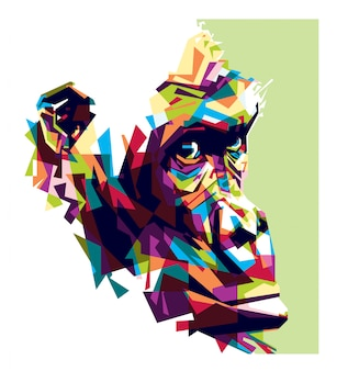 Colorful illuatration of gorilla