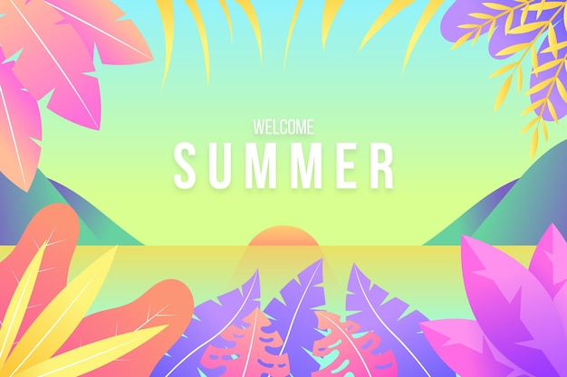 Colorful illustrated summer background