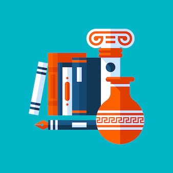 Colorful illustration about history. books, ancient column, vase.