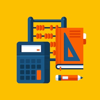 Colorful illustration about mathematics in modern flat style