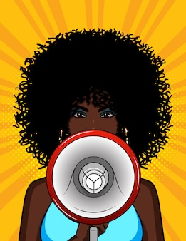 Colorful illustration of an african american girl with a loudspeaker in her hand. the stylish woman speaks in a megaphone. portrait of a young girl with curly hair  with a mouthpiece