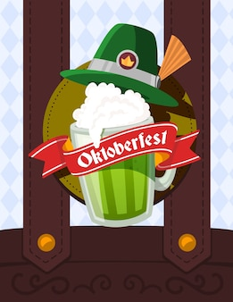 Colorful illustration of big mug of green beer with hat, red ribbon and text on male overalls and rhombus pattern background. oktoberfest festival and greeting.
