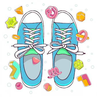Colorful illustration of blue gumshoes on  white background with abstract elements.