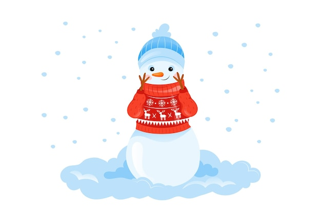Colorful illustration in cartoon flat style of happy smiling snowman character in sweater on white