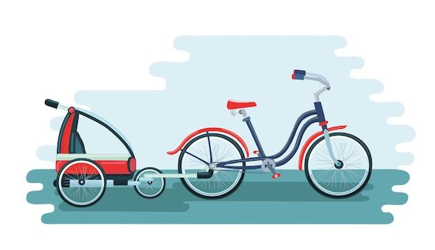 子供のための自転車トレーラーのカラフルなイラスト漫画
