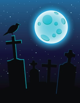 Colorful illustration of a cemetery with moonlight over a dark blue sky. graves with crosses and a full blue moon. design flyer for halloween with a raven sitting on a graveyard