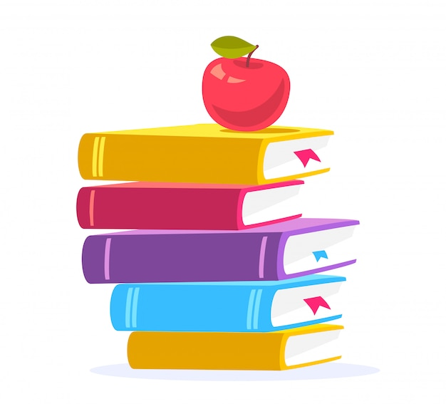 Colorful illustration of close up stack of books with red apple isolated on white background.