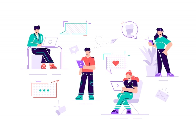Colorful illustration of communication via the internet, social networking,chat, video,news,messages,web site, search friends, mobile web graphics. modern design flat style  illustration