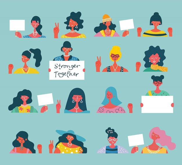 Colorful illustration concept of happy women or girls activists with banners and placards . group of female friends, union of feminists, sisterhood illustration