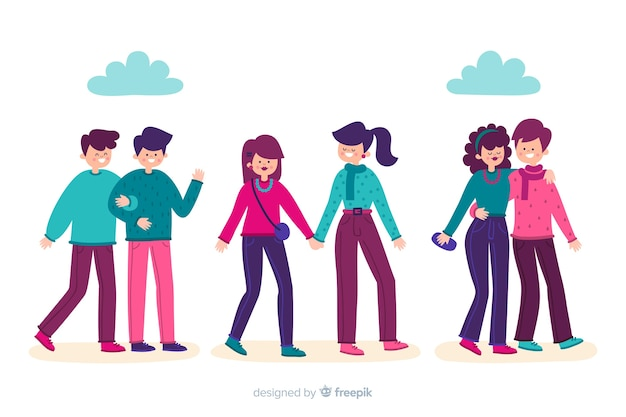 Colorful illustration concept with couples