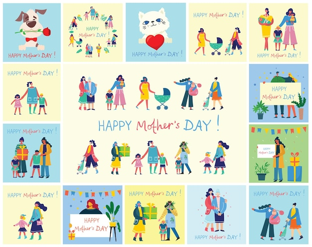 Colorful  illustration concepts of happy mother's day .