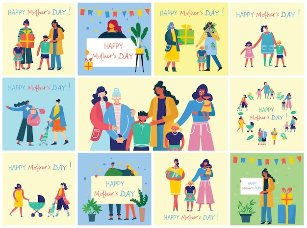 해피 어머니의 날의 다채로운 그림 개념