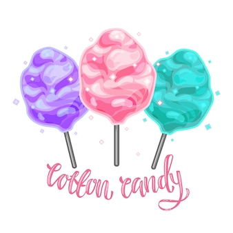 Colorful illustration of cotton candy on a white isolated background.