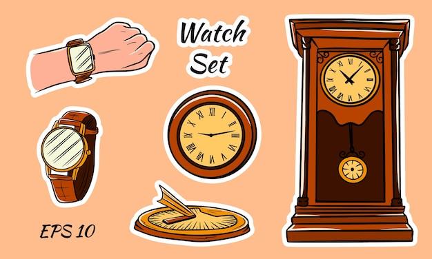 カラフルなイラスト。さまざまな種類の時計。ソーラー、壁、手首。アンティーク時計。時計のセット。
