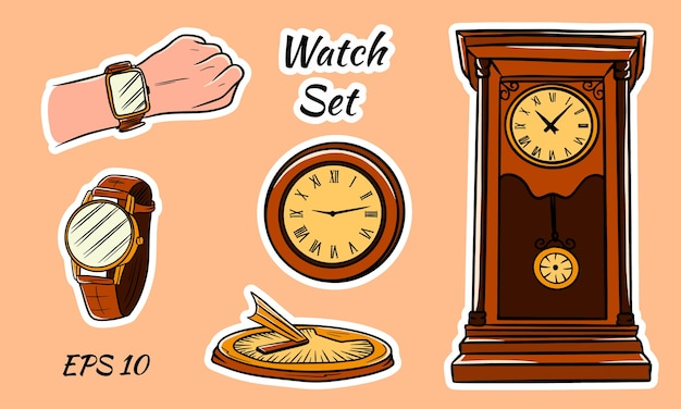 Colorful illustration. different types of watches. solar, wall, wrist. antique clock. set of clocks.