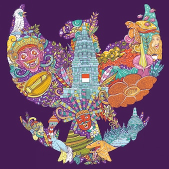 Colorful illustration doodle of indonesia with garuda pancasila shape