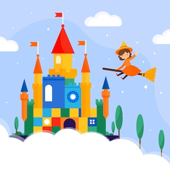 Colorful illustration of fairytale castle with witch