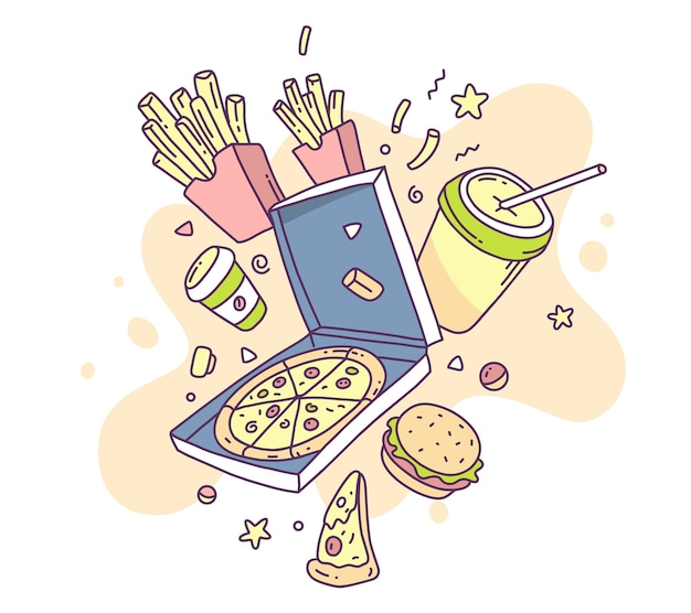 Colorful illustration of fastfood pizza, french fries, cola