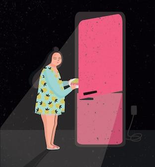 늦은 밤 냉장고 습격을 갖춘 다채로운 그림. 잠자는 여자가 냉장고에서 파이를 꺼내고 있습니다. 밤에 먹는다. 만화 일러스트 레이 션.