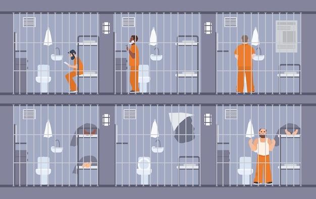 감옥 뒤에 있는 죄수들을 묘사한 다채로운 삽화. 주황색 제복을 입은 사람들. 탈출은 세포의 벽을 통해 탈출. 교도소 수감자. 플랫 만화 벡터입니다.
