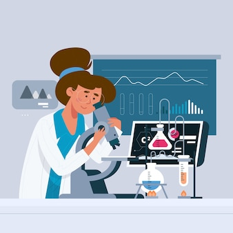 Colorful illustration of a female scientist