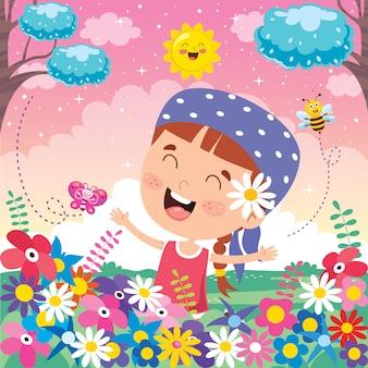 幸せな子供の日のためのカラフルなイラスト