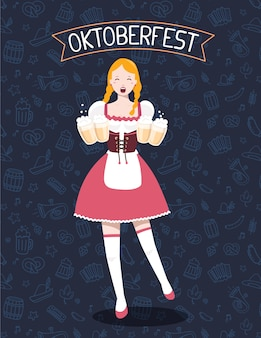Colorful illustration of german full length girl waitress in traditional clothes holding yellow beer mugs, ribbon, text on dark pattern background. oktoberfest festival and greeting.